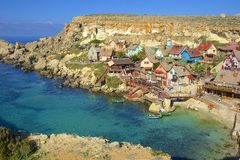 Het dorp van Popeye, Malta Stock Afbeeldingen