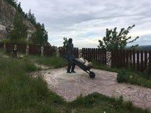 11 06 2017, het dorp van Shiryaevo, Samara-gebied, Rusland - Russisch monument aan de mijnwerker royalty-vrije stock foto