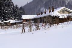 Het dorp van sneeuw Stock Afbeeldingen