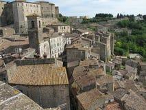 Het dorp van Sorano in Toscanië, Italië Royalty-vrije Stock Afbeelding