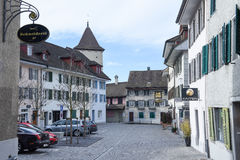 Het dorp van Sursee op Zwitserland stock foto