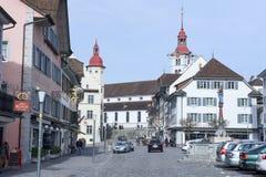 Het dorp van Sursee op Zwitserland royalty-vrije stock foto's