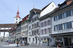 Het dorp van Sursee op Zwitserland stock afbeeldingen