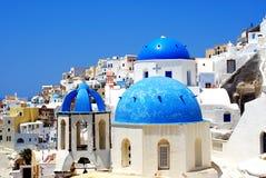 Het dorp van Thira in Santorini, Griekenland Stock Foto's
