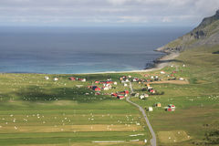 Het dorp van Unstad Stock Foto's