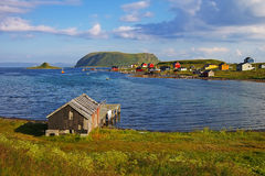 Het dorp van vissen. De eilanden van Lofoten, Noorwegen Stock Foto's