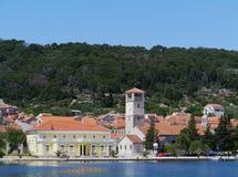 Het dorp Veli Iz in het Middellandse-Zeegebied Stock Foto