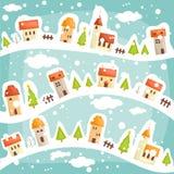 Het dorpsachtergrond van de winter stock illustratie