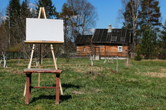 Het dorpslandschap van de schildersezelborstel Royalty-vrije Stock Foto