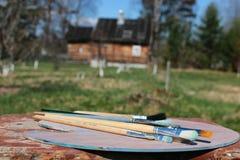 Het dorpslandschap van de schildersezelborstel Royalty-vrije Stock Afbeeldingen