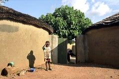 Het dorpsleven in Sandeman, noordoostelijk Ghana Stock Afbeelding