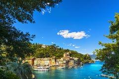 Het dorpsoriëntatiepunt van de Portofinoluxe, luchtmening en bomen Liguri Stock Afbeeldingen