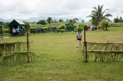 Het Dorpsscène van Fiji met Toeristen royalty-vrije stock foto's