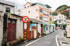 Het dorpsstraat van het Cijineiland in Kaohsiung, Taiwan stock foto's