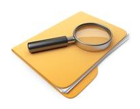 Het dossier en de omslag van het onderzoek. 3D Pictogram   Stock Foto