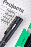 Het dossier en de pen van het project Stock Foto's