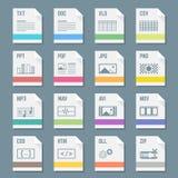 Het dossier formatteert pictogrammen met illustraties worden geplaatst die Stock Afbeeldingen