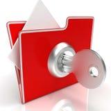 Het dossier met toont Veilig en Geclassificeerde Sleutel stock foto's