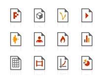 Het dossier typt compacte pictogrammen Royalty-vrije Stock Afbeeldingen