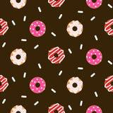 Het doughnutroze verglaasde naadloos chocolade vectorpatroon vector illustratie
