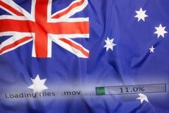 Het downloaden van dossiers op een computer, de vlag van Australië Royalty-vrije Stock Foto