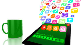 Het downloaden van toepassingen aan tablet Royalty-vrije Stock Afbeeldingen