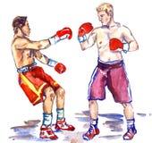 Het in dozen doen de strijd, atleet stuurt in een knockout zijn tegenstander, handpai royalty-vrije illustratie
