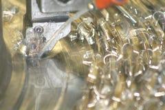 Het Draaien van de draaibank Roestvrij staal Stock Afbeelding