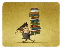 Het dragen van een stapel boeken Stock Afbeeldingen