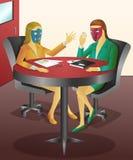 Het dragen van een te beweren masker stock illustratie