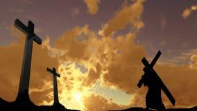 Het dragen van het Kruis Stock Foto's