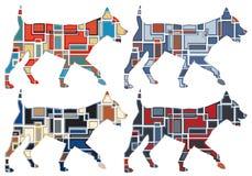 Het draven hondmozaïeken Stock Afbeeldingen