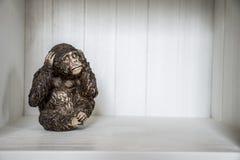 Het Drie Apenbeeldhouwwerk hoort zien 6 spreek Royalty-vrije Stock Afbeeldingen