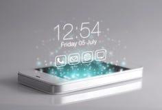 Het driedimensionele tijdscherm op smartphone Royalty-vrije Stock Foto