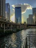 Het drijven ecosysteem langs riverwalk van de Rivier van Chicago tijdens de recente zomerzonsondergang stock foto