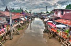 Het drijven markt dichtbij Bangkok in Thailand Royalty-vrije Stock Fotografie