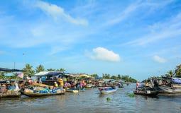 Het drijven markt in zuidelijk Vietnam Royalty-vrije Stock Afbeelding