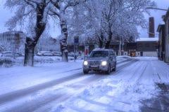 Het drijven met ijs en sneeuw royalty-vrije stock foto's