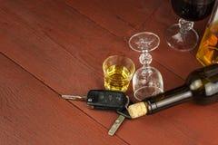 Het drijven onder de invloed van alcohol Gevaarlijke rit Alcohol achter het wiel Dronken bestuurder Royalty-vrije Stock Foto