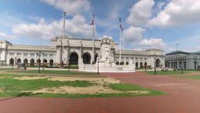 Het drijven van Afgelopen Unie Post in Washington DC stock footage
