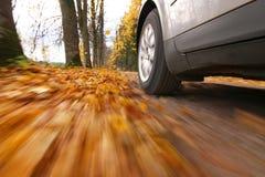 Het drijven van de auto bij de landweg Royalty-vrije Stock Afbeeldingen