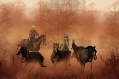 Het drijven van de Kudde stock illustratie