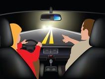 Het drijven van een auto bij nacht stock illustratie