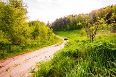 Het drijven van een auto langs zandige weg door dik bos stock fotografie