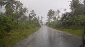het drijven van een auto in een zware regen op de weg stock videobeelden