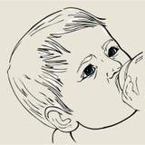 Het drinken van de baby melk Stock Foto's