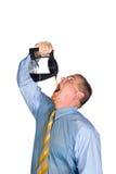 Het drinken van de mens pot van koffie stock afbeelding