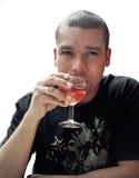 Het drinken van de mens wijn Stock Afbeeldingen