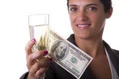 Het drinken van de vrouw champagne Royalty-vrije Stock Fotografie