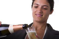 Het drinken van de vrouw champagne Stock Foto